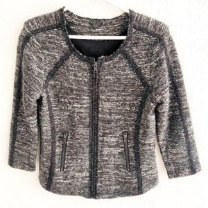 Ann Taylor Marled Zip Front Sweater Jacket S